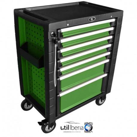 Carro de herramientas antivuelco verde con dotación EVA