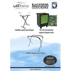 Lote 2 (caballete soporte parachoques, banco herramientas chapista, caballete plegable)