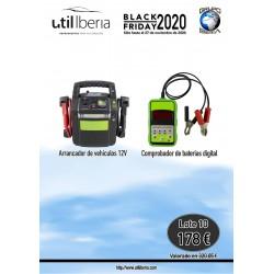 Lote 10 (arrancador vehículos 12V, comprobador baterías digital)
